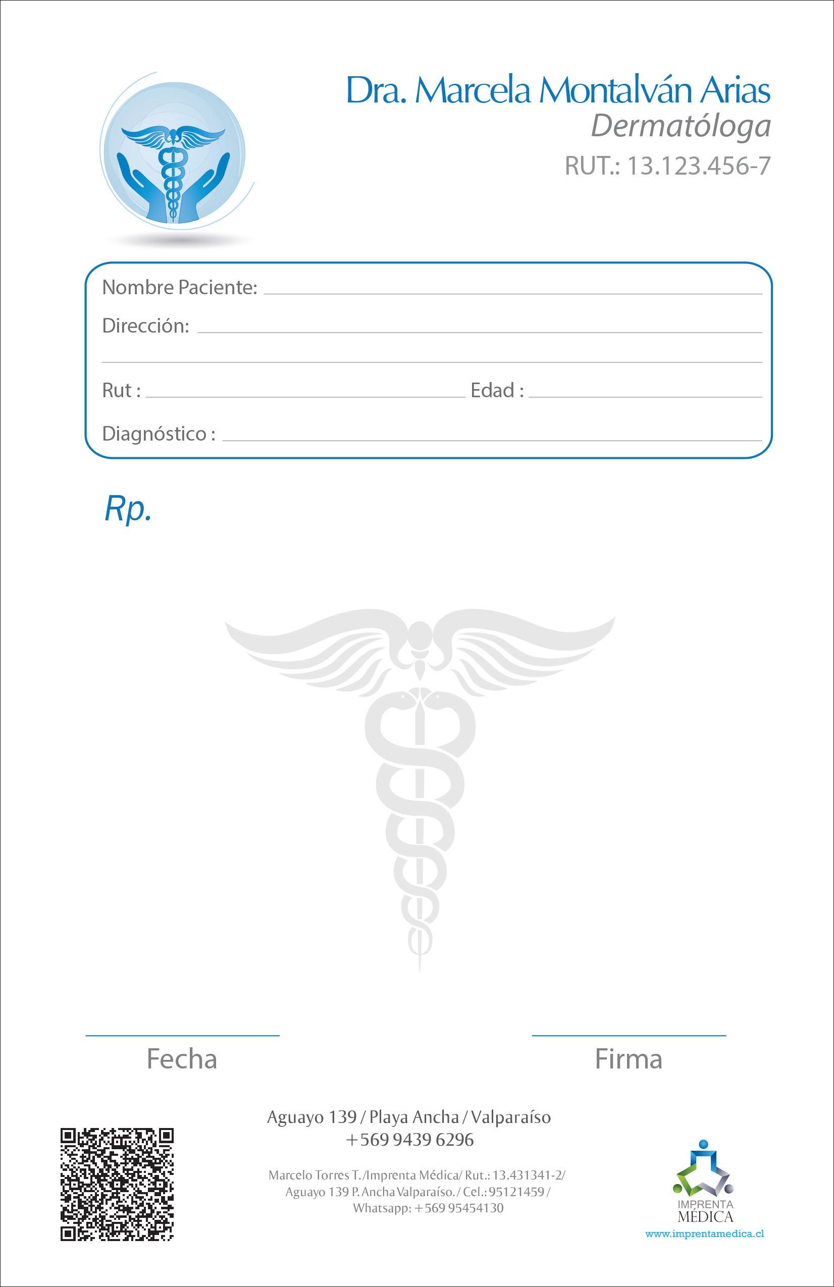 Recetario dermatólogo 001 – Imprenta Médica